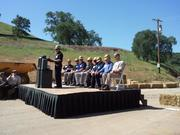 Sutter Gold Mining executives speak at the dedication of the new $4.5 million gold crushing mill at the Lincoln Mine.