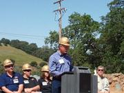 Amador County Supervisor Brian Oneto speaks at the dedication of the Lincoln Mine. Not only does the mine create direct jobs, but it will create additional jobs supporting the community with vendors and suppliers.
