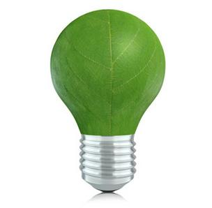 green energy leaf lightbulb