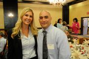 Christy Romero and Jesse Farias hang out before the health care reform panel.