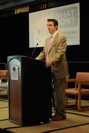 Sacramento Business Journal Publisher Terry Hillman speaks before the panel discussion on health care reform gets going.