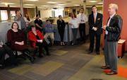 Sacramento Business Journal staff listen as new publisher Terry Hillman is introduced.