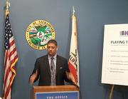 """Sacramento Mayor Kevin Johnson is animated in a news conference about the status of a counteroffer for the Sacramento Kings. He said there's """"considerable progress"""" in finding potential investors for the Sacramento Kings. He's not naming names yet, though, saying the potential investors are doing due diligence."""