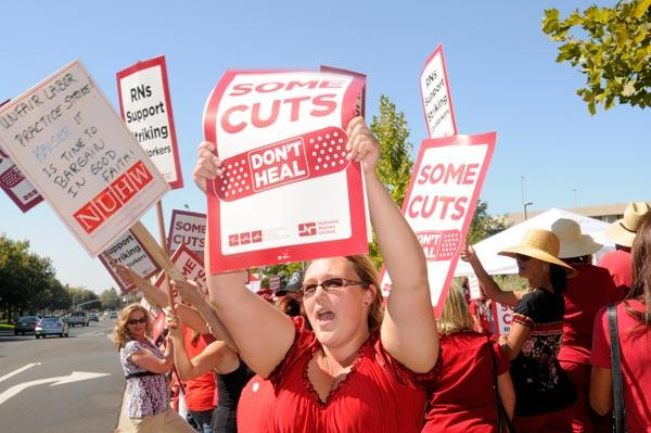 The National Union of Healthcare Workers led pickets at the Kaiser Permanente medical center in Roseville in 2011, above.
