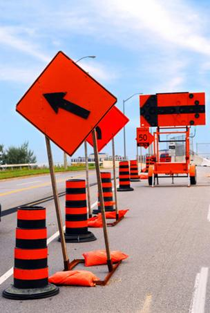Road Construction Sign Begins