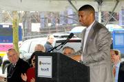 City of Sacramento Mayor Kevin Johnson talks at the announcement of federal funding for Sacramento Regional Transit District's Blue Line extension.