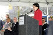 Congresswoman Doris Matsui talks at an announcement of federal funding for a light-rail extension project. The $270 million project will extend the Blue Line from the current terminus at Meadowview Road to Cosumnes River College and adds four new stations.