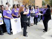 SEIU-UHW has started contract negotiations on behalf of thousands of workers at Catholic Healthcare West. Tameeka Vanenburg speaks to a group of about 40 health care workers rallying in front of Mercy General Hospital on Thursday. Carlyn Foster, senior communications specialist with SEIU, tapes the speech.