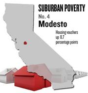 No. 4. Modesto. The percentage of housing vouchers issued to people living in the suburbs rose by 8.7 points from 46 percent in 2000 to 54.8 percent in 2008, according to U.S. Census data analyzed by the Brookings Institution. Among metro areas nationally, the area ranked No. 16.