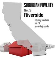 No. 5. Riverside-San Bernardino-Ontario. The percentage of housing vouchers issued to people living in the suburbs rose by 7.9 points from 67.8 percent in 2000 to 75.7 percent in 2008, according to U.S. Census data analyzed by the Brookings Institution. Among metro areas nationally, the area ranked No. 17.