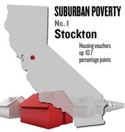 No. 1. Stockton. The percentage of housing vouchers issued to people living in the suburbs rose by 10.7 points from 18.5 percent in 2000 to 29.2 percent in 2008, according to U.S. Census data analyzed by the Brookings Institution. Among metro areas nationally, the area ranked No. 10.
