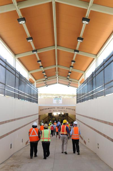 Canopies cover the walkway passengers will use to enter the central passenger tunnel leading to the new passenger platforms at Sacramento Valley Station. Passengers can use the new platforms starting on Monday.