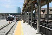 A platform area is still under construction at Sacramento Valley Station.