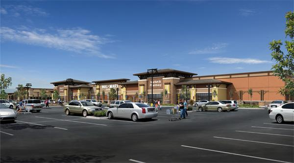 Construction has begun at a long-planned shopping center, Rocklin Crossings, depicted in this rendering. The 543,500-square-foot shopping center on the southeast corner of Sierra College and I-80,will be anchored by Walmart. It is one of two centers planned by developer Donahue Schriber.