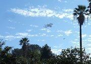 The Endeavour buzzes near Sacramento's Capitol Building.