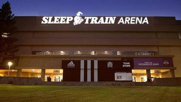 An artist's rendering shows how the sign will look at the Kings' newly-named Sleep Train Arena.