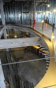 A view from the second floor at Sutter women's and children's center still under construction.