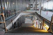 A grand staircase leads from the second floor to the lobby at the Sutter women's and children's center that's under construction. The project is scheduled for completion in 2013.