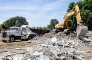A pile of rubble stands in place of one of the Tercero dorms at UC Davis. The original Tercero will be replaced by Tercero Phase III, which will consist of seven four-story buildings housing 1,200 students.