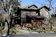 The Cranston-Geary House at 2101 G St. blends Bungalow, Craftsman and Prairie School designs.