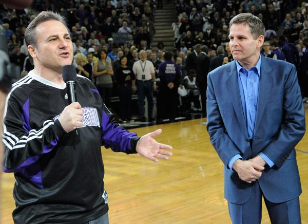 Gavin Maloof, left, and brother Joe appeared at a Kings game in February