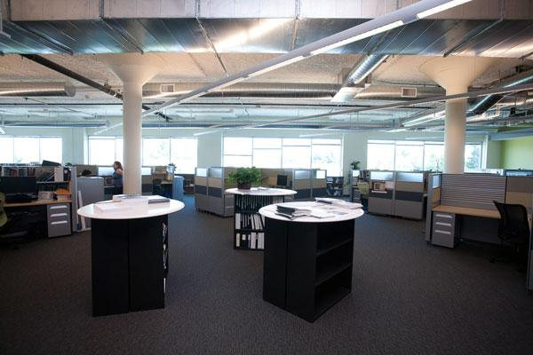 The biggest challenge facing Aecom was melding three different cultures from three different companies. The local office opted for open ceilings and exposed ductwork to take advantage of the big windows and natural light.