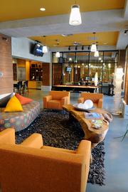 The lobby at the Alexan, complete with a pool table and a communal kitchen, is a big draw for residents.