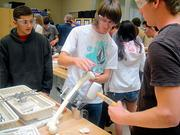 Students in an engineering class last spring at Antelope High School work on a project.