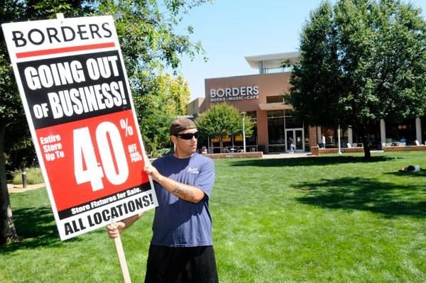 Borders stores began liquidation sales nationwide last week. The Davis store, above, is in a prime location.