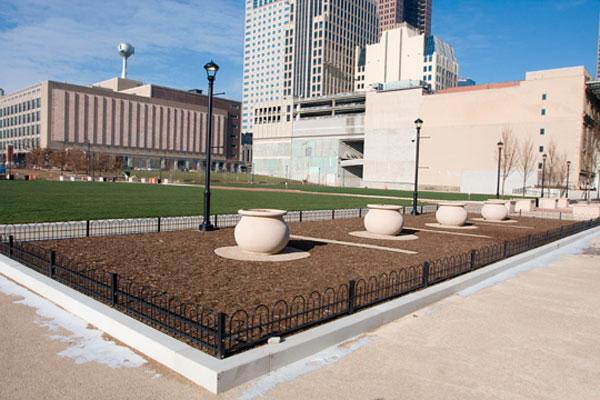 The two city affiliates that led development of Columbus Commons have received the Harrison Smith Award, honoring notable redevelopment in downtown.