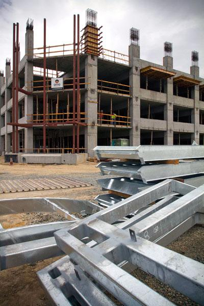 Steel frames slated to be installed by Otto Construction at the new parking structure being built at Cosumnes River College.
