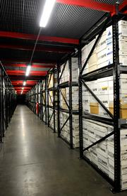 Shelves of data stored on magnetic tape are held at DataSafe's record center in Sacramento.