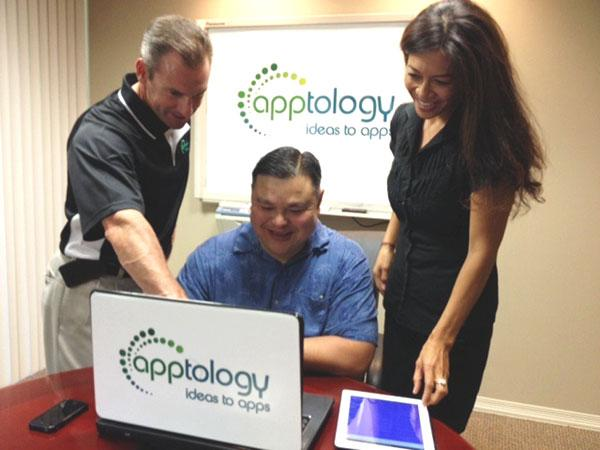 Apptology CEO Rich Foreman, center, is working with vice president of sales Kevin Fitzgerald, left, and director of sales Shirley Montalvo to develop a less expensive line of apps.