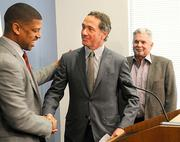 On Tuesday, Mayor Kevin Johnson, left, welcomed Fulcrum president Mark Friedman to the investment group trying to keep the Kings in Sacramento.