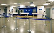 Polished concrete floors in the Greyhound station's passenger ticketing area add to the building's sleek look and are much easier to maintain than other types of flooring.