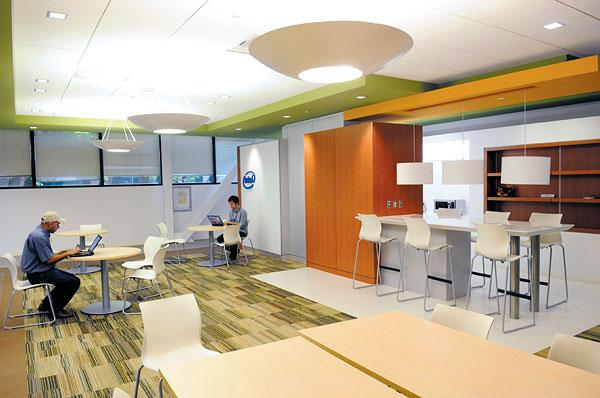 Workers have open communal areas in remodeled parts of the Intel campus in Folsom.