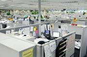 The old cubicle design at Intel's Folsom campus was considered drab by many workers.