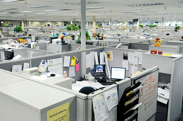 Cubicles in offices are making way for open space layouts.