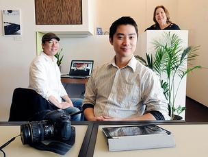Capsity's Jason Jong, left, and Jeffrey Louie have a variety of industries in their office space including social-media consultant Julie Gallaher, in back.