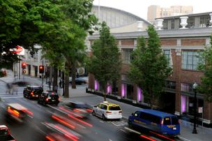 The Sheraton Grand Sacramento showed purple pride last week as local companies lined up to keep the Kings from moving.