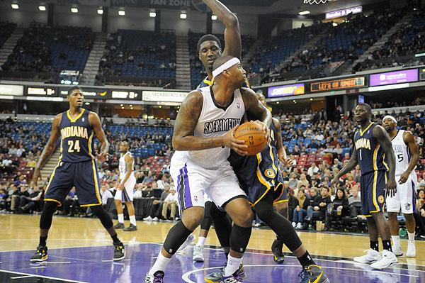 DeMarcus Cousins of the Sacramento Kings eyes the basket in a recent game against the Indiana Pacers, played before yet another sparse crowd.
