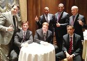 """The group that presented Sacramento's case to the NBA Board of Governors included """"whales"""" Mark Mastrov, seated from left, Ron Burkle and Vivek Ranadivé."""