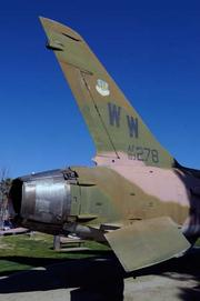An old F-105 is on display in front of the Veterans Administration hospital at Mather.