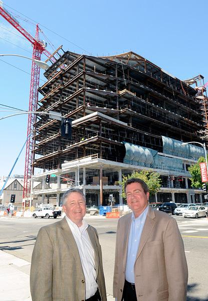 Donald McCallister, left, and Michael Lehman get together regularly to discuss Sutter's Midtown project. McCallister is a principal with Lionakis. Lehman is West Coast director of Healthcare Practice for EwingCole.