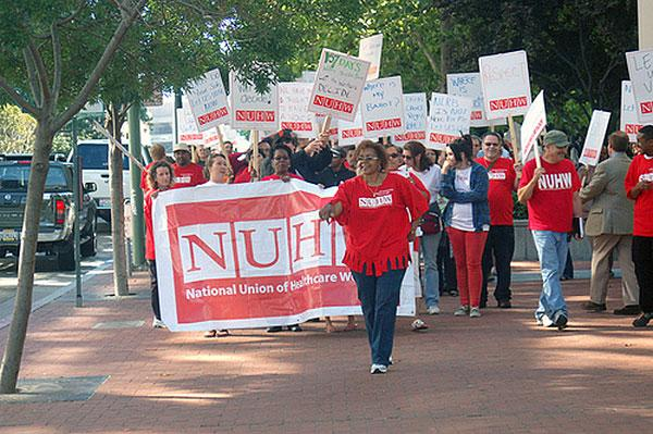 More than 100 health care workers picketed the Oakland office of the NLRB in July 2009, protesting the board's failure to schedule elections for workers who want to leave SEIU.