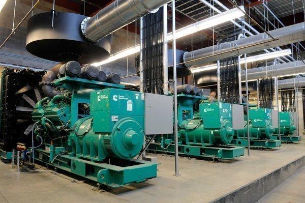 RagingWire's data center houses 21 3,000-horsepower Cummings diesel  motors, each able to generate 2 megawatts.