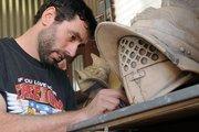 Panama Pottery tenant Maurizio Rivera sculpts gladiators and Renaissance knights.