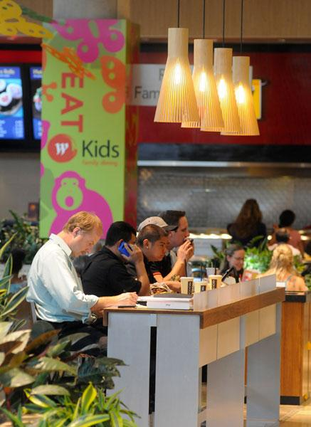 The food court bustles most days at the Galleria at Roseville, which employs 2,000 to 2,500 people.