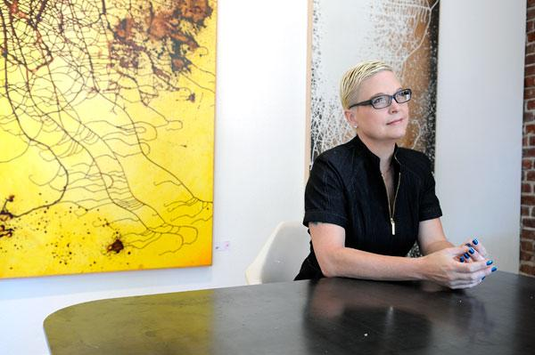 Tracy Saville, co-chief executive officer of T2 Performance Solutions, sits in The Urban Hive, a shared work space where she holds her workshops.