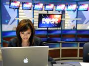 KTXL-TV Channel 40 reporter Stefanie Cruz devotes hours each week to Google Plus Hangouts, but the station believes the time is paying off as she connects with viewers and strengthens the brand of the station.   Colors attract attention, and the background with all the monitors was full of color. You also could instantly tell this was a newsroom. Flickering light from the computer screen lit her face as she talked with viewers. I just had to wait for her face to light up.   From the story: Next generation of videoconferencing takes off